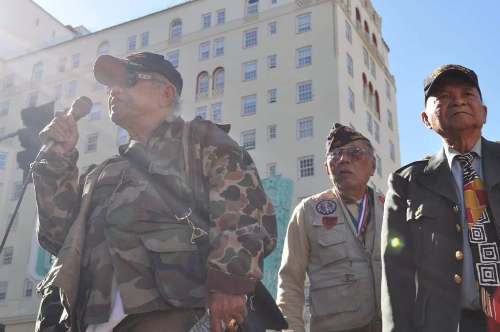 Filipino World War II Veterans speak during the JFAV15 march in Hollywood